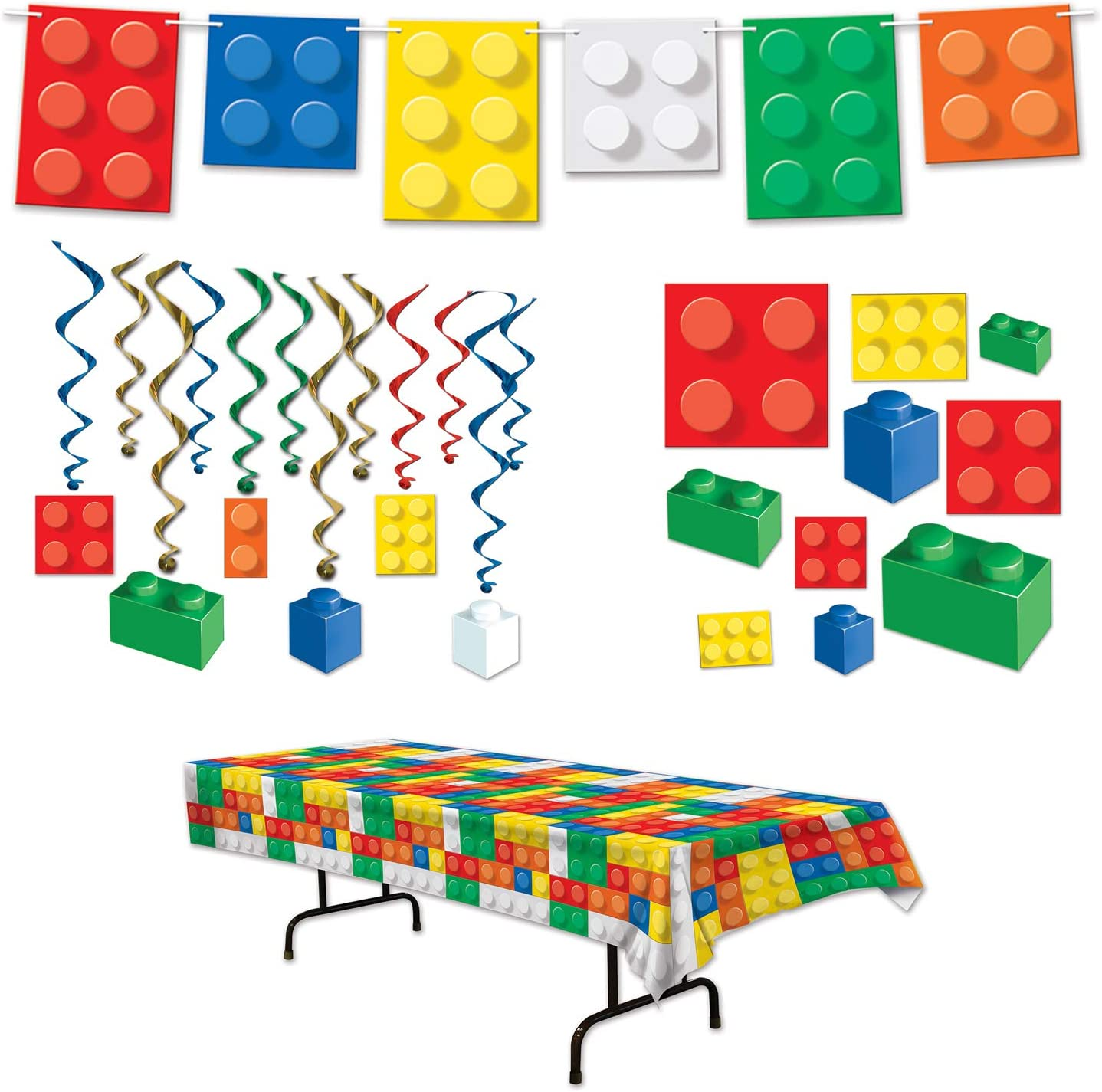 Manufacturer regenerated product Building Blocks Party Dangling Cutout Whirls Tablecover Streamer New arrival
