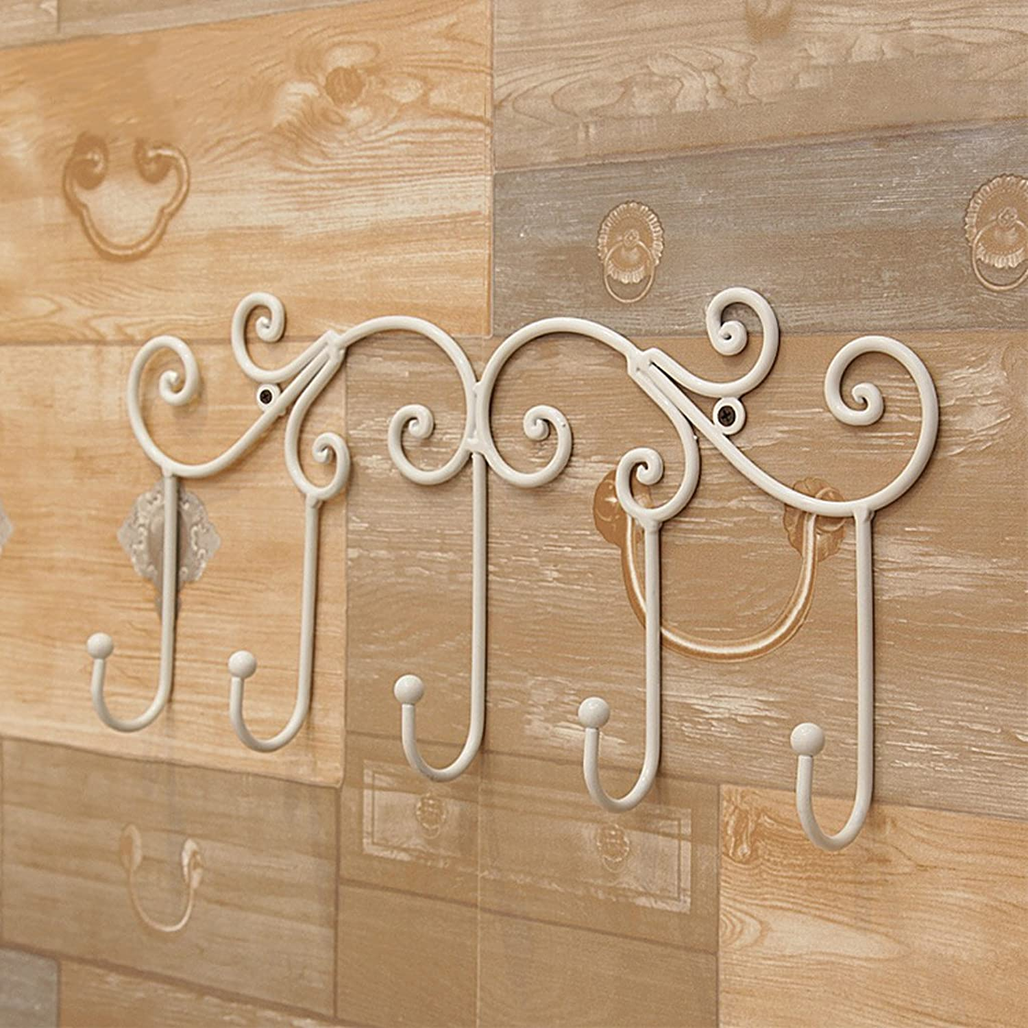 DQMSB Hanging Hook - Five Hook Wall Hook, Wall Mount, Wrought Iron Display Stand Size  45 cm X 6 cm Coat Racks (color   White)