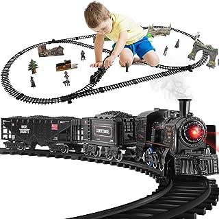 ست قطار خانگی کودک ، اسباب بازی قطار برقی برای پسران دخترانه / دودی ، چراغ