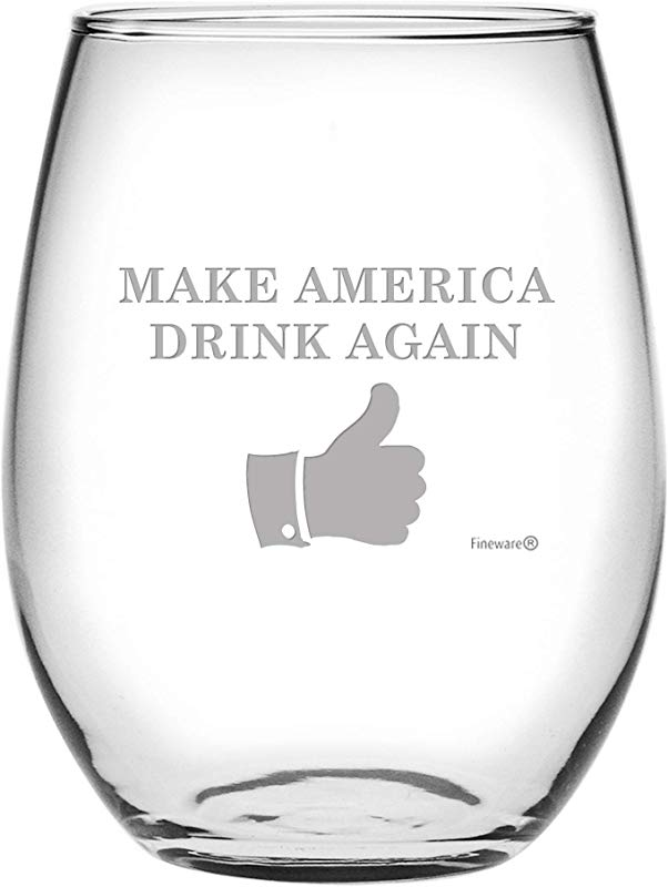 Fineware Make America Drink Again Funny Wine Glass 15 Oz Etched Stemless Libbey Glass