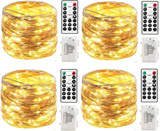 4 Pack 19.6ft 60Led Fairy String Lights Battery Operated with Remote Control Timer Waterproof Copper Wire Twinkle Firefly ...