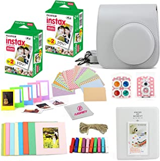 Fuji Instax Mini Instant Film Two Twin Packs (40 Sheets) + Protective Case + 40 Sticker Frames + Picture Frames + Photo Album + Microfiber Cleaning Cloth + More Accessories (Smokey White)