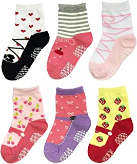 Bowbear Baby Girls 6 Pair Fruity Mary Janes Non-Slip Socks