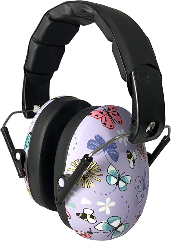 BANZ Kids Headphones Hearing Protection Earmuffs For Children Adjustable Headband To Fit All Ages Protect Kids Ears Block Noise Fireworks Sporting Events Concerts Movies Butterfly