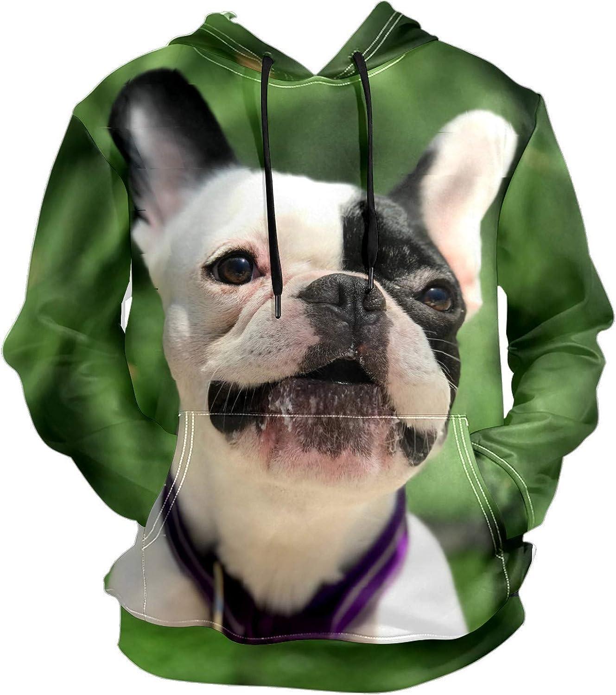 Men's Sport Hoodie Smile Bulldog Puppy Big and Tall Hoodies for Men Women Oversized Hooded Sweatshirt Hip Hop Pullover Hoodie Midweight Hood for Boys Girls
