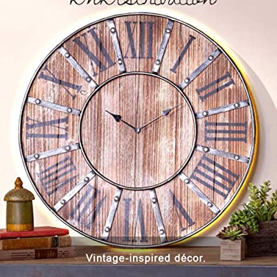 Oversized Farmhouse Clock It Has a Wooden Construction with an Intentionally Distressed Finish and Studded Metal