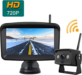 Digital Wireless Backup Camera and Monitor System, Stable Signal Reversing Camera with 5 Inch LCD Monitor, Night Vision IP69K Waterproof Rearview IR Camera and Monitor Kit be Used for Safety Driving