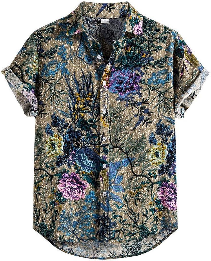YOCheerful Floral Printing Shirt, Summer Beach Casual Mens Linen Button-Down Short Sleeve Hawaiian Shirt, Comfy Shirts