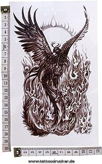 1 x Phoenix Tattoo - Vogel Flammen - Temporary Haut Tattoo A