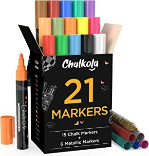 Chalk Markers & Metallic Colors (Pack of 21) Neon Chalk Pens – For Chalkboard,..