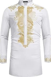 COOFANDY Men's African Dashiki Luxury Metallic Floral Mandarin Mid Long Shirt