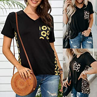Tickas Short Sleeves T-shirt,Women Plus Size Short Sleeved T-shirt Floral Leopard Printed Splicing V Neck Tees Casual Tops S-5XL