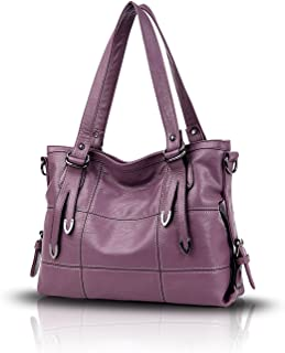 Tisdaini Damenhandtaschen Mode Hohe Kapazität Geschäft Schultertaschen Freizeit weich Leder Shopper Umhängetaschen Lila