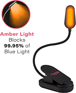 Book Light, Blue Light Blocking, Amber Clip-On Reading Light by Hooga. 1600K Warm LEDs for Reading in Bed. Sleep Aid Light. Rechargeable 1200mAh Battery. Adjustable Brightness. Works with Kindles