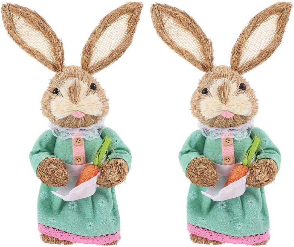 NUOBESTY Straw Bunny Figurines with Lowest price challenge Carro Rabbit Standing Omaha Mall