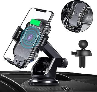 車載Qi ワイヤレス充電器 車載 ホルダー 10W/7.5W急速ワイヤレス充電器車載スマホホルダー 360度回転 粘着式&吹き出し口2種類取り付 iPhone X/XR/XS/XSMAX/8/8 Plus/Galaxy S9/S8/S8 Plus/S7/S7 Edge/S6/S6 Edge/Note 8/Note 5/Nexus 5/6等に適用ワイヤレス充電機種に対応