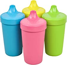 Re-Play Made in The USA 4pk No Spill Sippy Cups for Baby, Toddler, and Child Feeding - Sky Blue, Bright Pink, Yellow, Lime Green(Easter+)