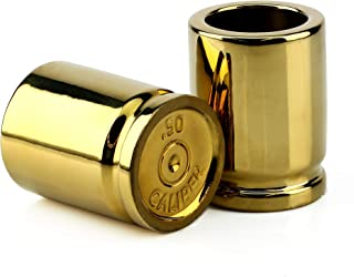 Barbuzzo UTU3BR0048 Set of 2 Glasses Shaped Like Bullet Casings, 2 oz, Each Shot Holds 2 Ounces