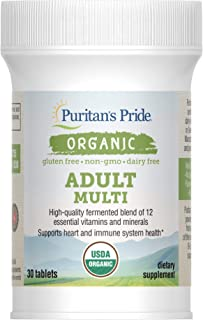 Puritan's Pride Organic Adult Multivitamins with Zinc, 30 Tablets