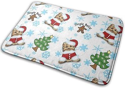 """Yorkie Jingle Bells White and Blue_20097 Doormat Entrance Mat Floor Mat Rug Indoor/Outdoor/Front Door/Bathroom Mats Rubber Non Slip 23.6"""" X 15.8"""""""