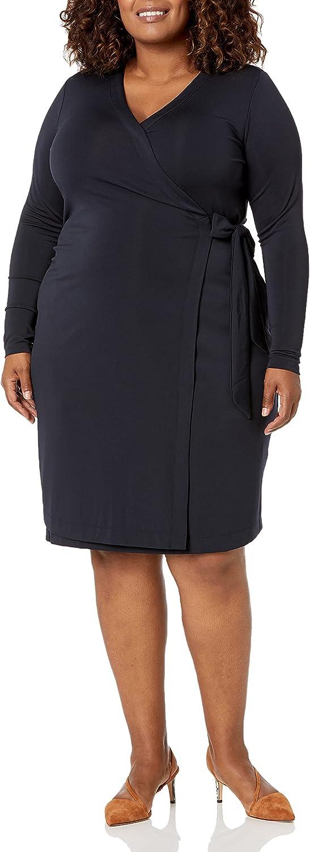 Amazon Brand - Lark & Ro Women's Plus Size Signature Long Sleeve Wrap Dress