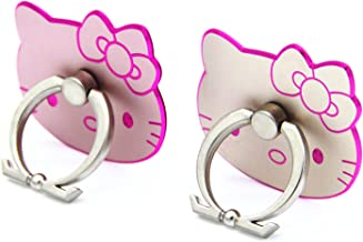 CellDesigns Hello Kitty Cell Phone Ring Grip Stand Holder Car Mounts (Rose Gold, Gold/Pink Rim)