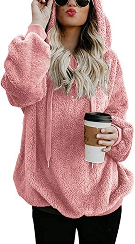 Women Baltimore Mall Sweatshirt New mail order Pullover Fuzzy Fleece Hoodie Long Sle Oversized