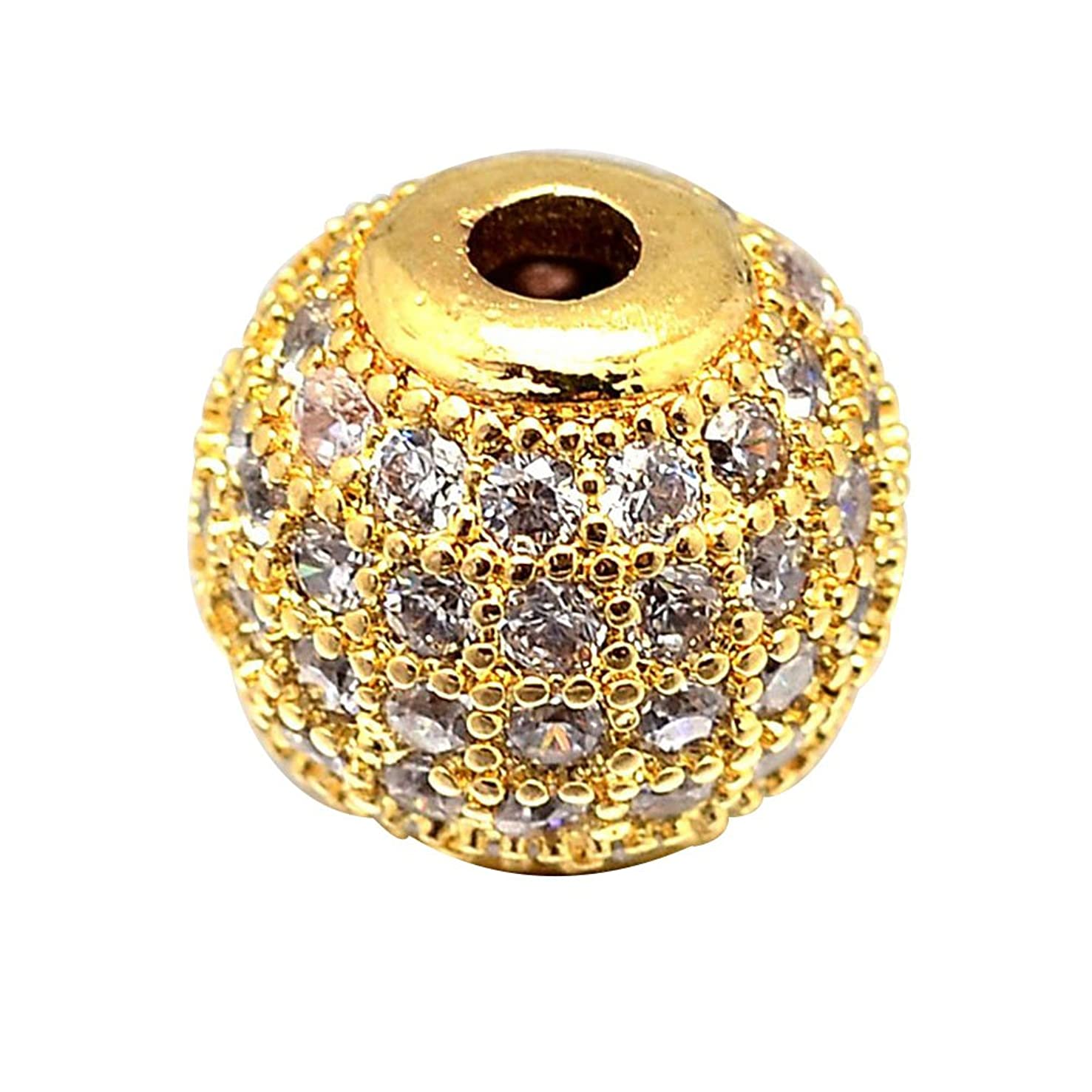 NBEADS 10PCS 8mm Brass Micro Pave Cubic Zirconia Real Gold Round Beads Clear Gemstones Cubic Zirconia Round Beads Bracelet Connector Charms Beads for Jewelry Making