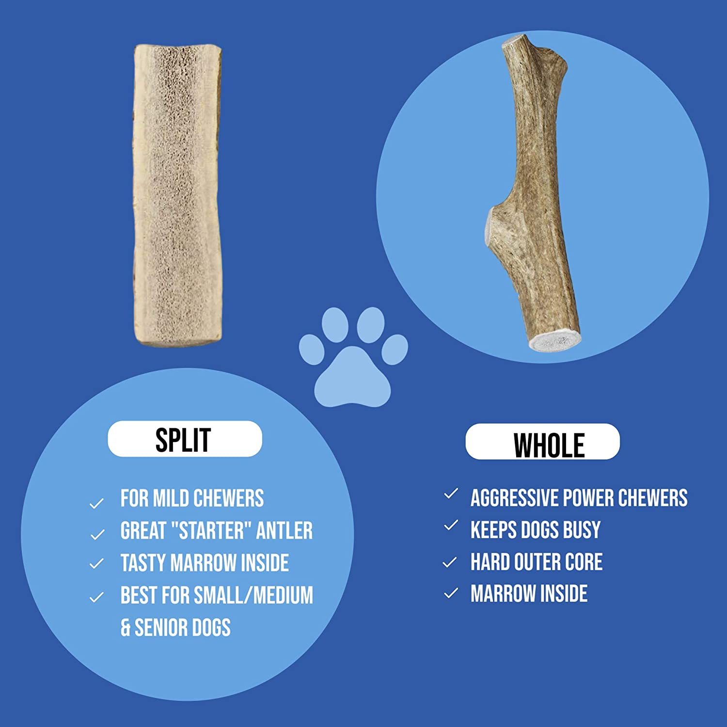 Naturally Shed Whole /& Split Elk Antlers for All Dog Sizes /& Breeds Premium Grade K9warehouse Elk Antlers for Dogs Long Lasting Elk Antler Dog Chew 100/% Made in USA