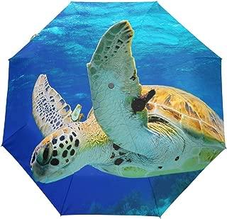 Green Sea Turtle Ocean Auto Open Close Foldable Windproof Travel Umbrella