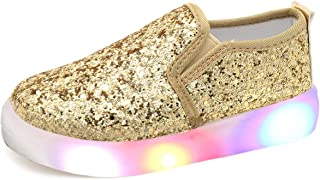 Girl's Light Up Sequins Slip On Loafers Flashing LED Casual Shoes Flat Sneakers (Toddler/Little Kid)