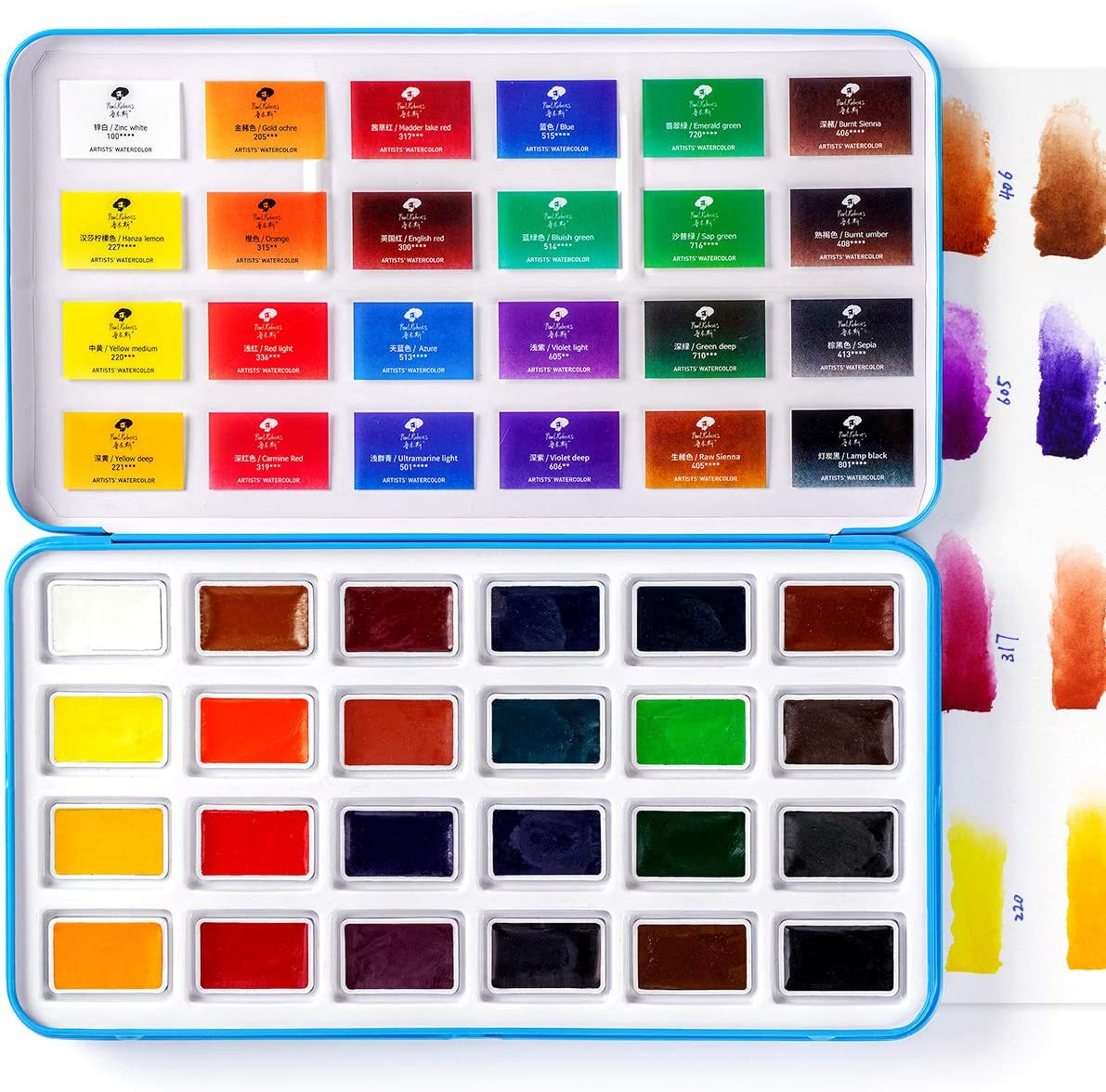 Paul Rubens Watercolor Paint Set, 24 Vivid Colors Water Coloring Paint Full Pan, for Artists, Newbie, Students, High Transparency Intense and Durable, No Chalky