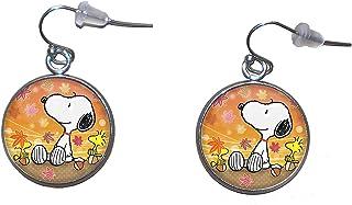 Orecchini pendenti in acciaio inossidabile, diametro 20 mm, fatto a mano, illustrazione Snoopy 3