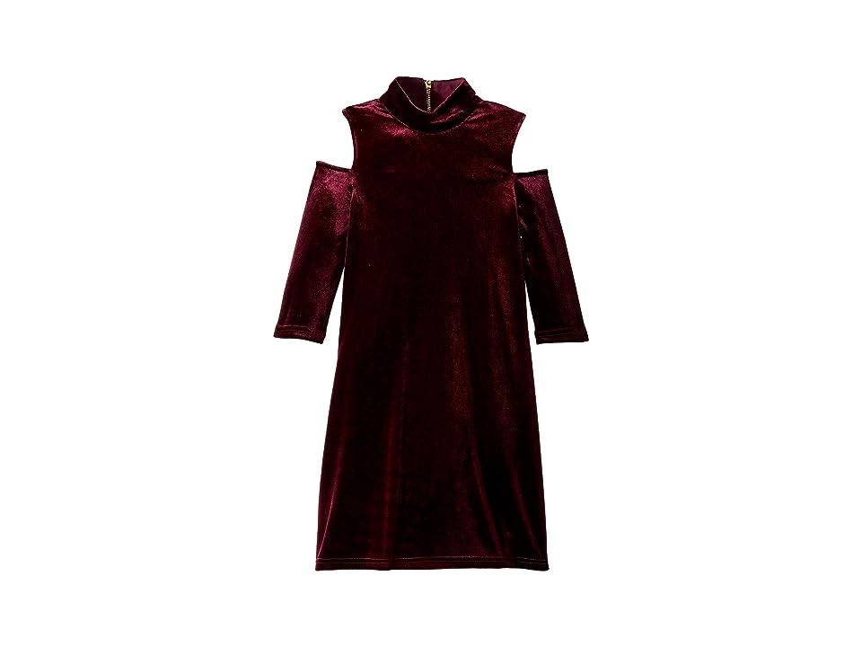 Us Angels Long Sleeve Mock Neck Cold Shoulder Velvet Bodycon Dress (Big Kids) (Berry) Girl