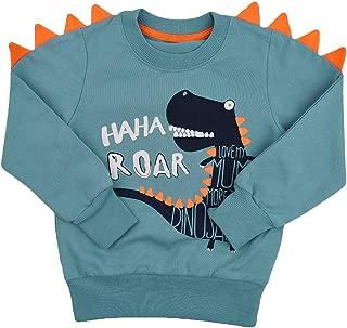 Popshion Toddler Boys Long Sleeve T-Shirts Dinosaur Crocodile Sweatshirts Pullover Cartoon Tee Sport Tops for Kids 1-8 Years