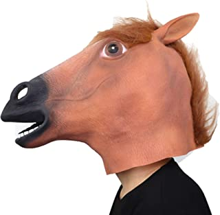 ifkoo Horse Head Mask Full Face Latex Animal Party Unicorn Mask Halloween Costume Props Christmas party (Brown Horse)