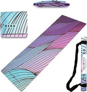 Yoga Hero Travel Yoga Mat Foldable Lightweight - Thin Light Non-Slip Travel Yoga Mat Eco Includes Carrying Strap