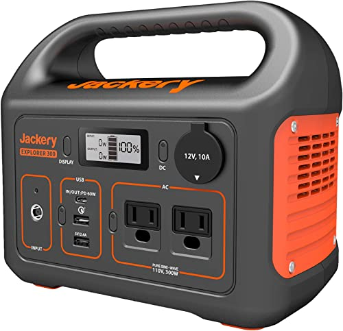 Jackery Portable Power Station Explorer 300, 293Wh Backup Lithium Battery, 110V/300W Pure Sine Wave AC Outlet, Solar ...