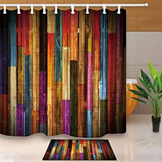 NYMB Colorful Wooden Wallpaper Shower Curtain, Grunge Rustic Planks Barn House Wood Art Print,Waterproof Polyester Fabric Bath Curtain Set with Bathroom Bath Rugs,70X70in