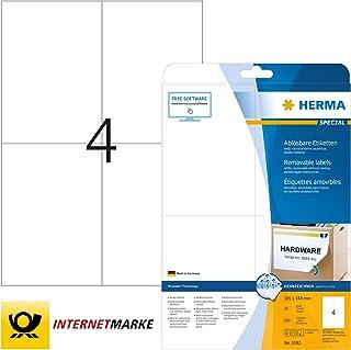 HERMA 5082 Universal Etiketten DIN A4 ablösbar, groß 105 x 148 mm, 25 Blatt, Papier, matt selbstklebend, bedruckbar, abziehbare und wieder haftende Adressaufkleber, 100 Klebeetiketten, weiß