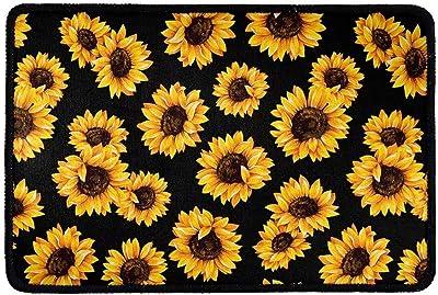 Dellukee Indoor Outdoor Doormats Sunflowers Print Cute Welcome Non Slip Durable Washable Home Decorative Door Mats Rugs for Entrance Bedroom Bathroom Kitchen