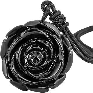 mookaitedecor Pendentif Rose Fleur en Pierre Protection avec Corde Ajustable,Collier Pierre Graver for Femme