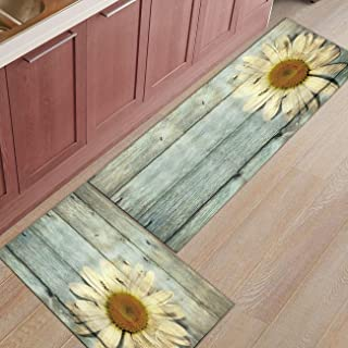 Kitchen Rugs Sets 2 Piece Kitchen Floor Mats Non-Slip Rubber Backing Area rugs Wooden Board Sunflower Doormat Rubber Backing Washable Carpet Inside Door Mat Pad Sets(15.7