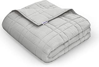Nuzzie Weighted Blanket [New 2020] - 20 lbs Queen/Full 60x80 for Teens and Adults - 100% Cotton - Premium Hypoallergenic Glass Beads - Modern Design with Double Stitching - Designed in USA - Grey