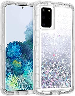 WOLLONY for Galaxy S20 Plus Case for Women Girl S20+ Glitter Liquid Heavy Duty Bling Quicksand Waterfall 3 in 1 Shockproof Hard Bumper Clear Rubber Protective for Galaxy S20 Plus S20+ 6.7inch Sliver