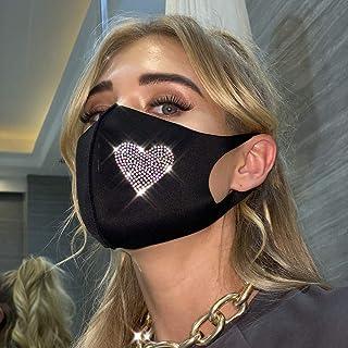 Fstrend Rhinestones Cotton Mask Star Crystal Black Masquerade Masks Cloth Reusable Ball Party Nightclub Face Necklace Vene...