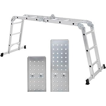 SONGMICS Escalera de Aluminio Multifuncional, Máx. Carga de Capacidad de 150 kg, Conforme al Estándar EN131 TÜV Rheinland GS, GLT36M: Amazon.es: Bricolaje y herramientas