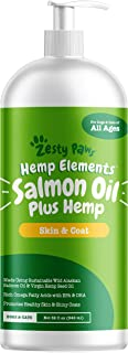 Zesty Paws Pure Wild Alaskan Salmon Oil with Hemp for Dogs & Cats - Omega 3 & 6 Fish Oil Pet Supplement with EPA & DHA - Anti Itching Skin & Coat Care + Hip & Joint Health - Heart & Immune Support