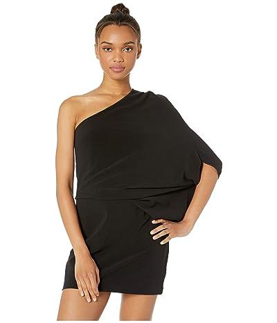 Halston Heritage One Shoulder Asymmetrical Sleeve Dress (Black) Women