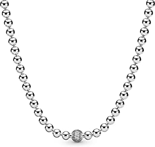 PANDORA Beads & Pave 925 Sterling Silver Necklace, Size: 45cm, 17.7 inches - 398565C01-45
